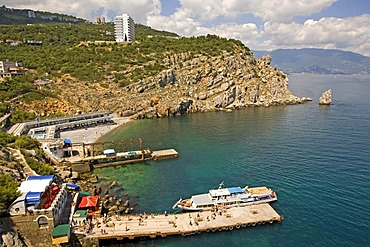 Landing Place of Sightseeing Ships at the Cape Air-Todor, Jalta, Crimea, Ukraine, South-Easteurope, Europe,