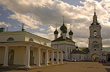 Historic shopping arcades with Church of Our Saviour and bell tower, Kostroma, Russia