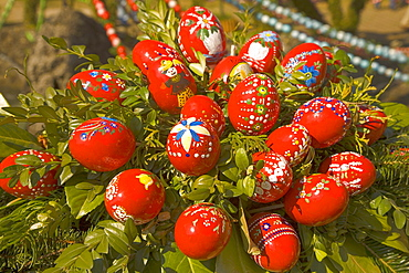 Painted Easter eggs on Easter fountain, Bieberach, Franconian Switzerland, Bavaria, Germany, Europe