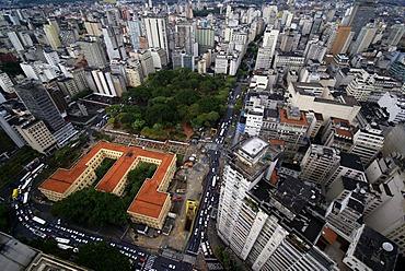 Skyline of Sao Paulo, Brazil. View on the Praca da Rebublica