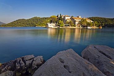 Benedictine Monastery on St. Mary Island in Veliko Jezero, Large Lake, in Mljet National Park, Mljet Island, Dubrovnik-Neretva, Dalmatia, Croatia, Europe