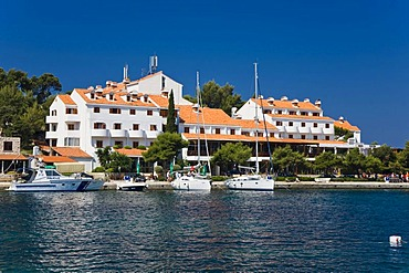 Port and Hotel Odisej, Pomena, Mljet Island, Dubrovnik-Neretva, Dalmatia, Croatia, Europe