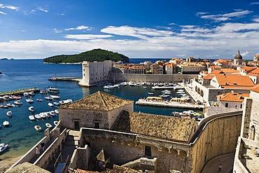 Port and historic city centre of Dubrovnik, Ragusa, Dubrovnik-Neretva, Dalmatia, Croatia, Europe