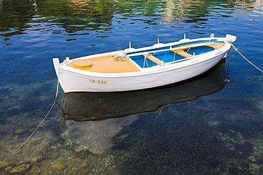 Small moored fishing boat, Mljet Island, Dubrovnik-Neretva county, Dalmatia, Croatia, Europe