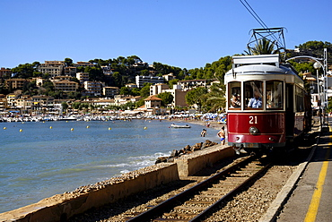 Trolley car in Port de Soller, Majorca, Spain