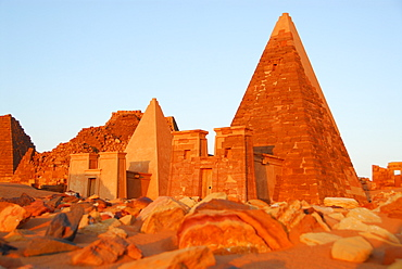Pyramids in morning light, Meroe, Sudan