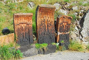 Cross-slabs nearby Sevan monastery, Lake Sevan, Armenia