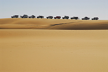 Jeeps in the dunes near Sylvia Hill, Diamond Area, Namibia
