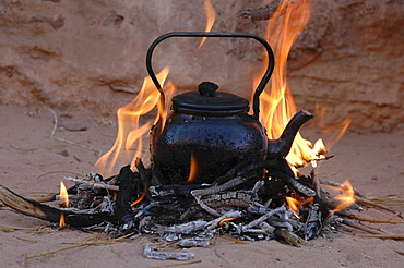 Teapot on the fire, Wadi Rum, Jordan