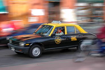 Taxi at Plaza Dorrego, San Telmo, Buenos Aires, Argentina