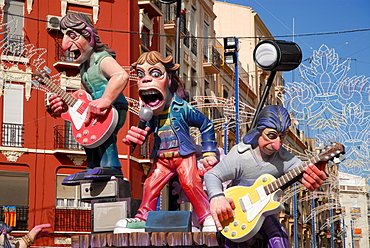 "Colourful paper-mache figures (the Rolling Stones) at the ""Fallas"" festival, Valencia, Spain, Europe"