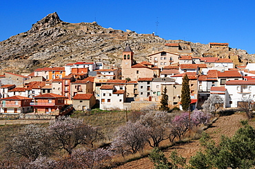 Houses in the town of Gargallo in the afternoon sun, Teruel Province, Spain, Europe