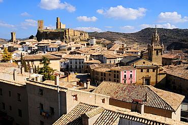 View over Uncastillo, Zaragoza Province, Aragon, Spain, Europe