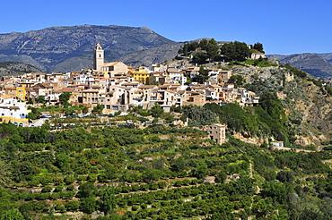 View of Polop de la Marina, mountain village, terracing, Costa Blanca, Spain