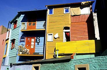Colourful house fronts in La Boca, harbour quarter, Buenos Aires, Argentina