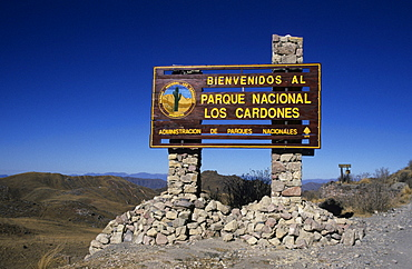 Sign at the entrance to Parque Nacional Los Cardones, Los Cardones National Park, Salta Province, Argentina