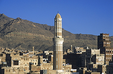 View over the rooftops and minarets in the historic centre of Sanaa, Yemen, Middle East