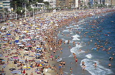 Playa Levante Beach during midsummer, Benidorm, Costa Blanca, Spain, Europe