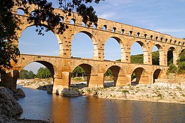 Roman aqueduct Pont du Gard, Remoulins, Provence, South of France, France