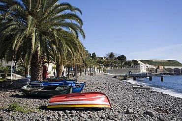 Fishing boats on the beach, Santa Cruz, Madeira, Portuga