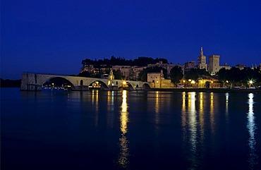 Papal Palace at Rhone River in Avignon, Provence, France