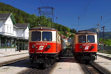Locomotives of Austrian Federal Railways in Mariazell Railway Station, Austria, Styria