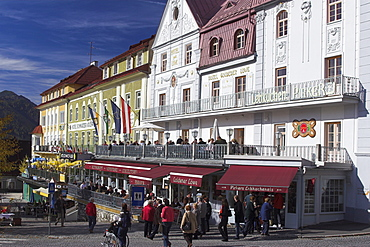 Restaurants on main square in Mariazell, Austria, Styria