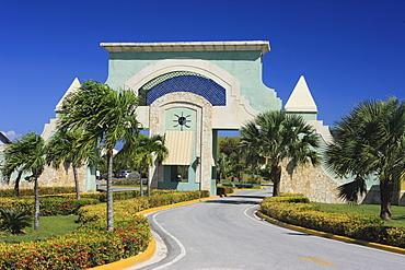Entrance to a holiday resort near Punta Cana / Bavaro, Dominican Republic, Caribbean
