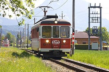 Railcar 2311 of the Traunsee Train between Gmunde and Vorchdorf, Upper Austria, Austria, Europe