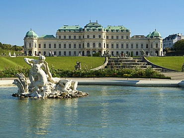 Fountain in front of the Belvedere Palace, Vienna, Austria, Europe