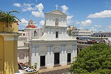 San Juan cathedral seen from El Convento hotel, San Juan, Puerto Rico