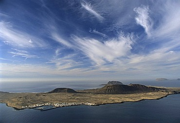 View from Lanzarote Island to La graciosa island, Mirador del Rio of the artist Cesar Manrique, Canary Islands, Spain, Europe