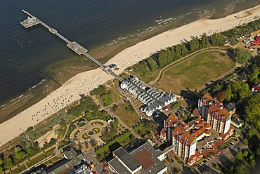 Aerial view of Heringsdorf and its pier at sea, Usedom island, Mecklenburg Western Pomerania, Germany, Europe
