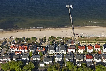 Aerial view of Bansin and its pier at sea, Usedom island, Mecklenburg Western Pomerania, Germany, Europe