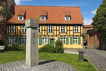 Monument stone for the cities jews, Johannis monastery, Hanseatic city of Stralsund, Mecklenburg Western Pomerania, Germany, Europe