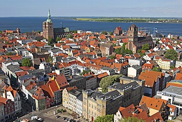 View from St. Mary's church, Hanseatic city of Stralsund, Mecklenburg Western Pomerania, Germany, Europe