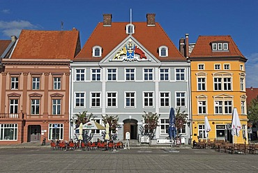 Architecture at the old market, Hanseatic city of Stralsund, Mecklenburg Western Pomerania, Germany, Europa