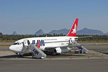 Airplane of LAM (Linhas Aereas de Mozambique), Mozambique, Africa