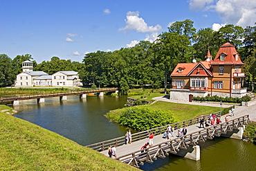 Moated mansion in the town park, Kuressaare, Saaremaa Island, Estonia, Europe