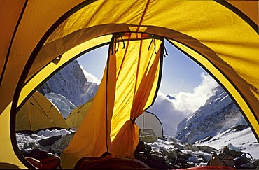 View out of a tent in camp II, 2, 6500m, Western Cwm, Mount Everest, Himalaya, Nepal