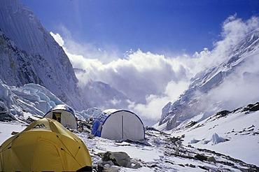 Tents in camp II, 2, 6500m, Western Cwm, Mount Everest, Himalaya, Nepal