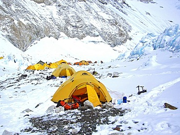 Yellow tents in Camp II, 2, ca. 6500m, Western Camp, Mount Everest, Himalaya, Nepal