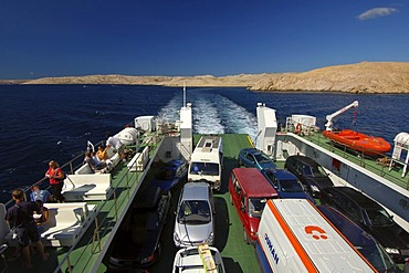 Ferry from Jablonc to the island of Rab, Kvarner, Croatia