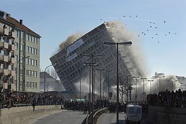 Blowing up the Agfa building, Giesing, Munich, Upper Bavaria, Bavaria, Germany