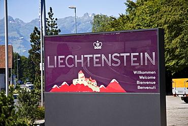 Welcome sign, Liechtenstein, Europe