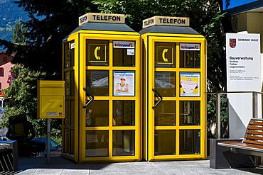 Telephone booths and mailbox, Vaduz, Liechtenstein, Europe