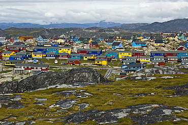 Typical colourful apartment houses, Ilulissat, Greenland, North Atlantic
