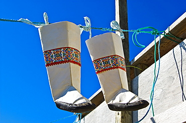 Seal leather boots made by Inuit in Ikerasak, Greenland, North Atlantic