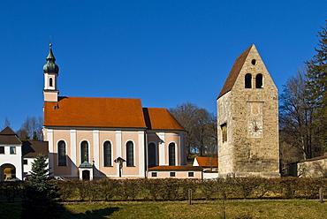 Wessobrunn Monastery and romanesque bell tower, Wessobrunn, Pfaffenwinkel, Bavaria, Germany, Europe