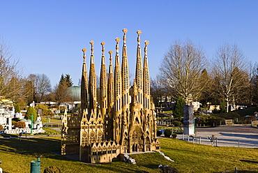 Model of the Barcelonan Church of the Holy Family designed by Gaudi in the Minimundus Freizeitpark theme park in Klagenfurt, Carinthia, Austria